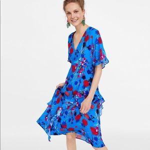 Blue Floral Ruffle Zara dress
